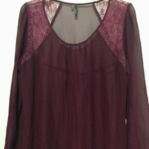 Maurices | Purple Sheer Lace Blouse